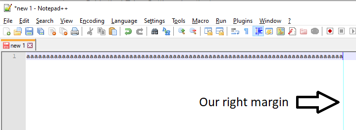 Notepad++ - Screenshot with results - vertical right margin at 80th column - https://dirask.com/q/BDnRXD