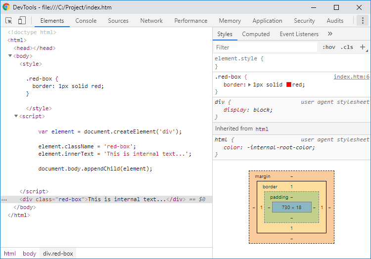 Dynamically created div element - Google Chrome development tools preview.