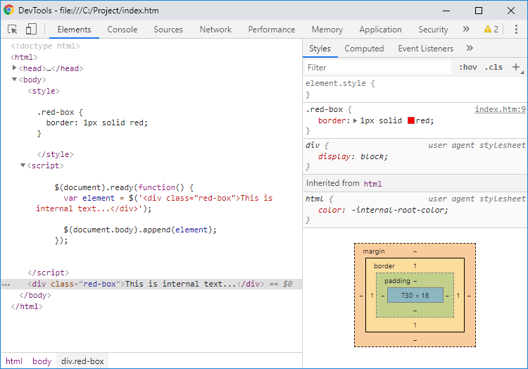 Dynamically created div element with jQuery - Google Chrome development tools preview.