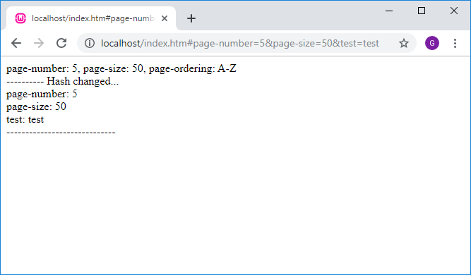 Hash parameters logic with changed url after page loaded.