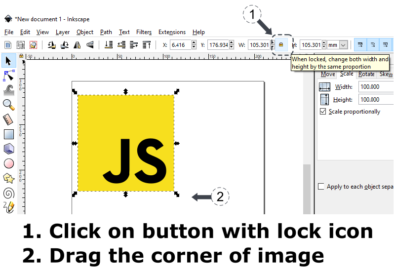 Inkscape - resize svg image keeping aspect ratio using button with lock icon