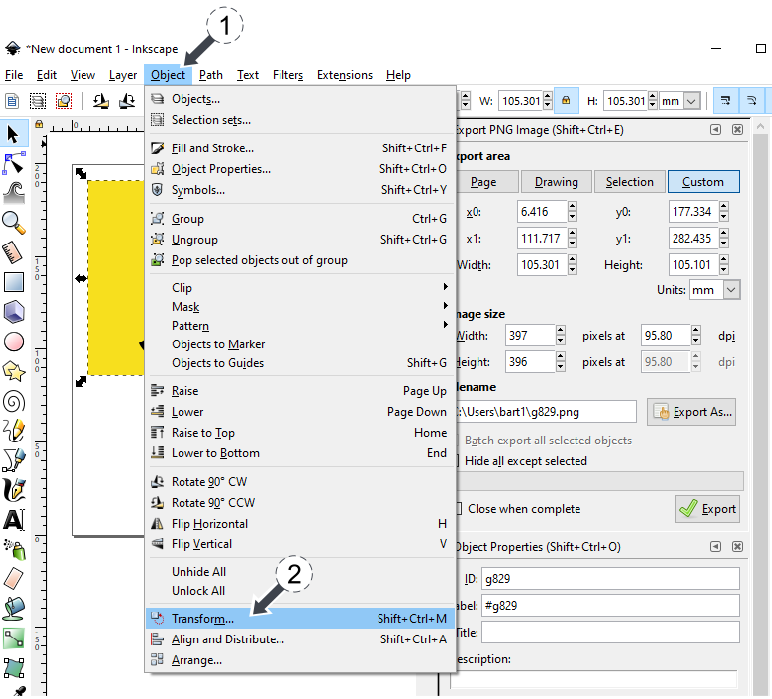 Inkscape - resize svg image keeping aspect ratio using Object Transform img 1