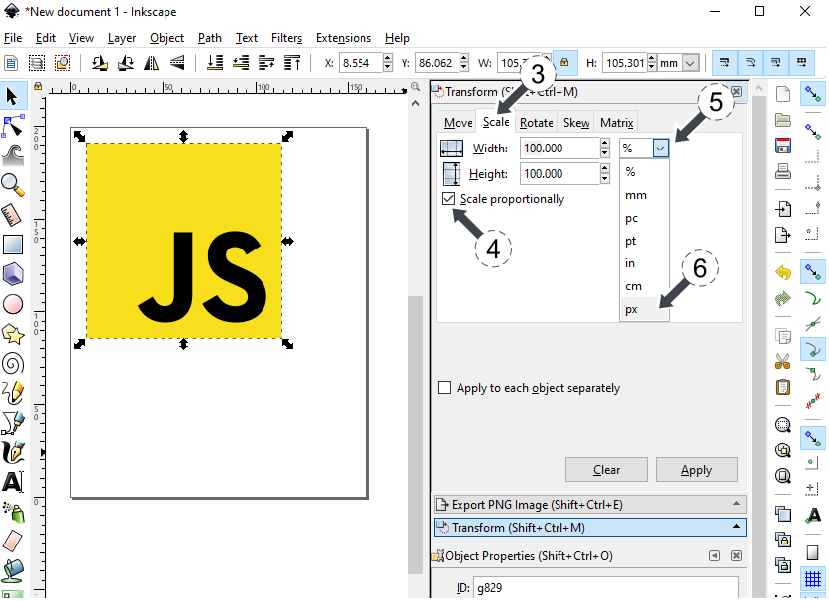 Inkscape - resize svg image keeping aspect ratio using Object Transform img 2
