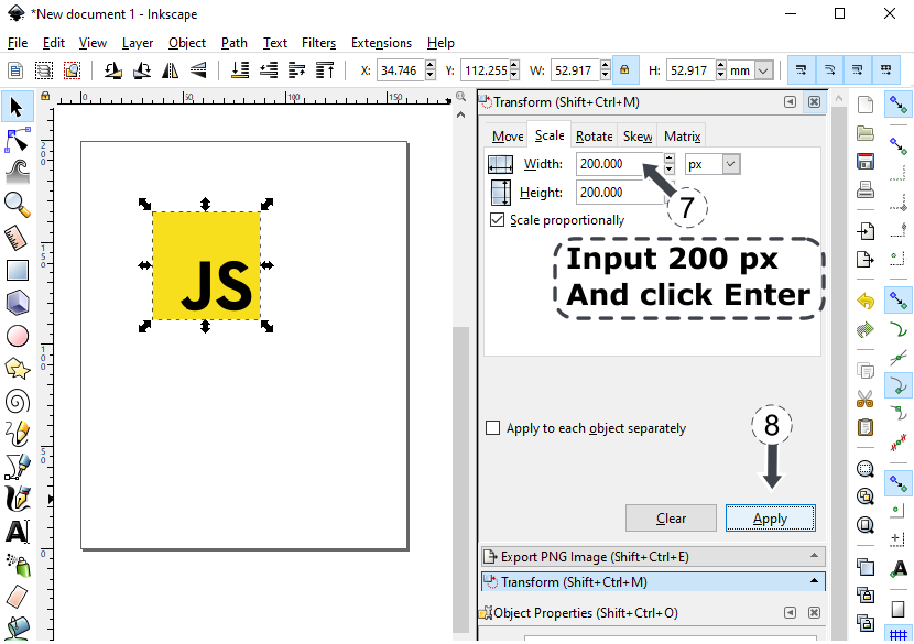 Inkscape - resize svg image keeping aspect ratio using Object Transform img 3