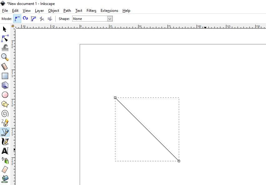 Inkscape - How to Draw Straight Line step 3