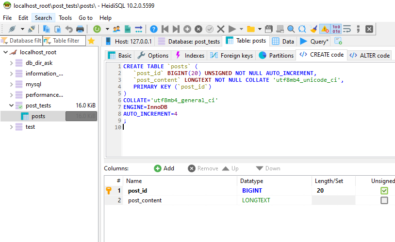 Screenshot from Heidi SQL after execution above query - database schema