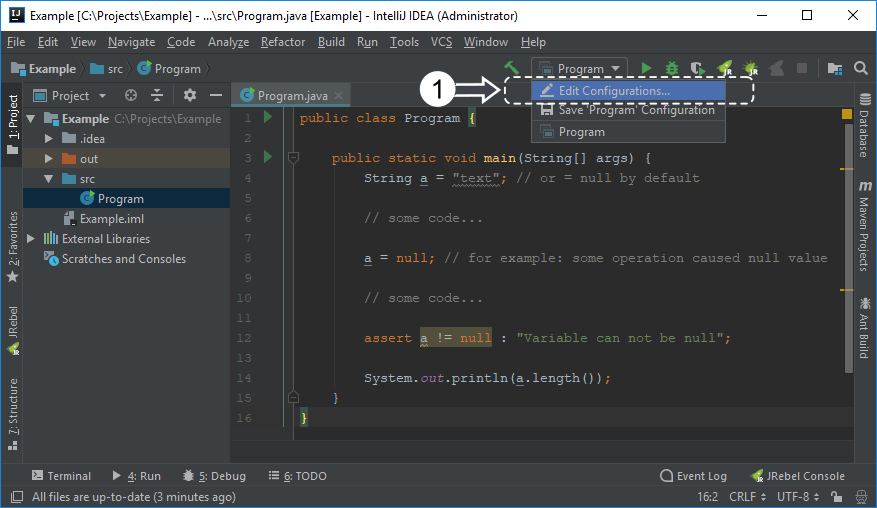 Opening Run / Debug configurations with IntelliJ IDEA