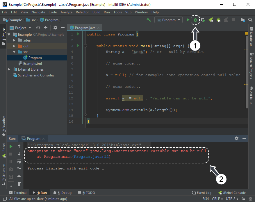 Running program with enabled assertions with IntelliJ IDEA
