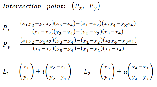Intersection point formula for given two points on each line