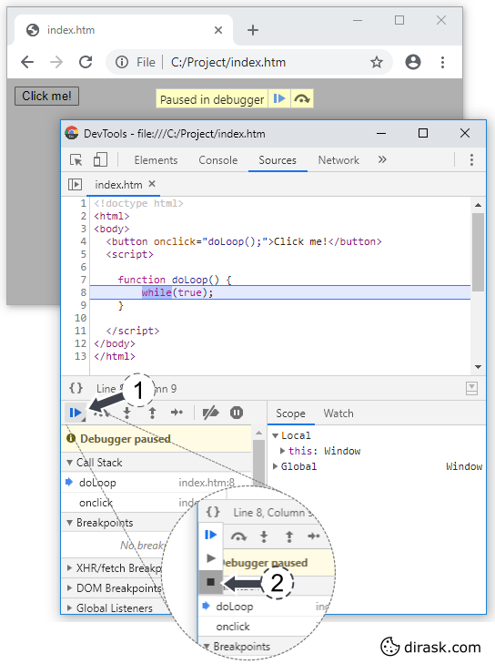 Explanation, how to stop JavaScript loop using Google Chrome DevTools.