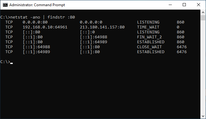 netstat listing processes that uses port 80 - Windows CMD