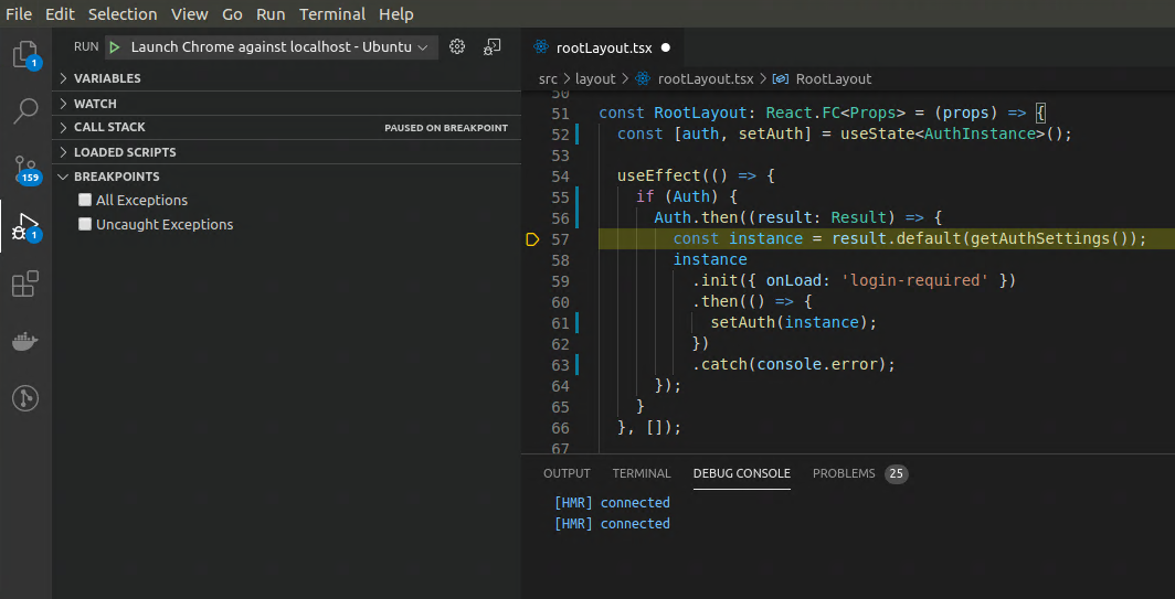 Gatsby React debugging from VS Code in Ubuntu with Google Chrome Browser