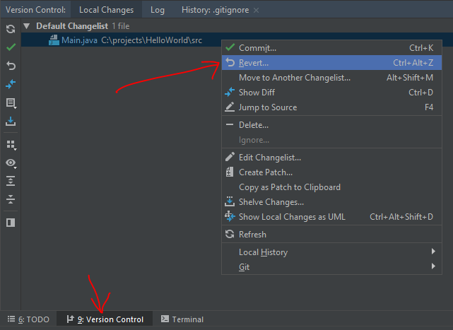 Git - revert local file with Intellij IDEA