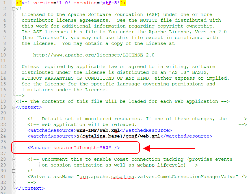 Example in which place of context.xml file, set length of JSESSIONID (session id) for Tomcat server.