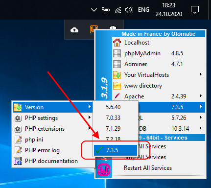 Switching to PHP 7.3.5 in WampServer
