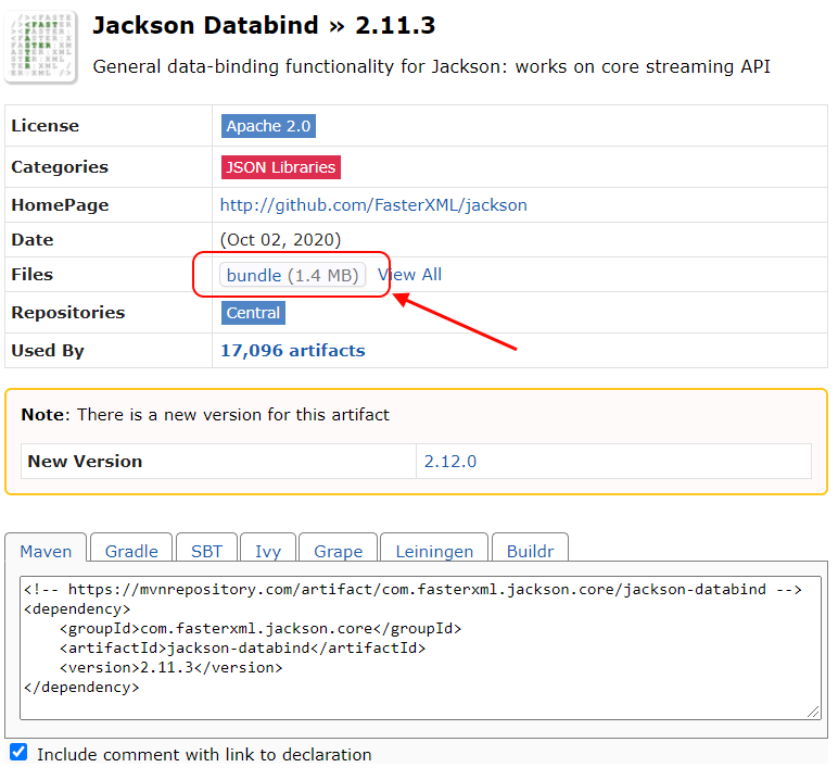 Jackson JAR file download instruction.