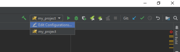 Instruction how to open Debug / Run Configuration windows in IntelliJ.