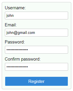 Simple register user form in React.