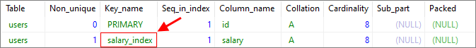 MySQL - add index to existing table - result using query