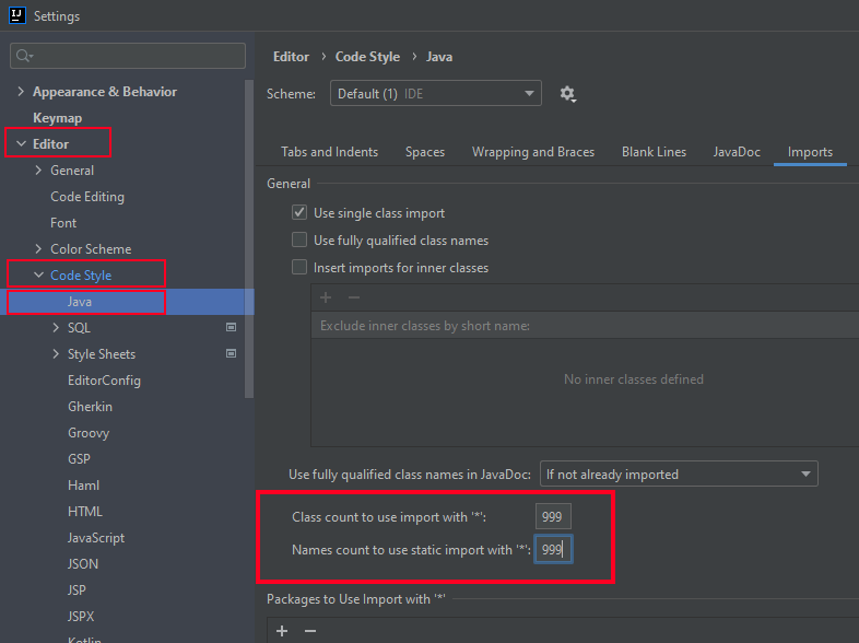 Intellij Idea - do not use wildcard imports (do not import *, 999)