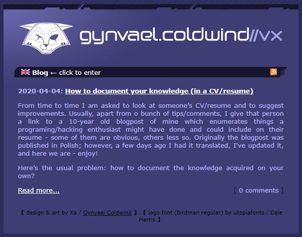 Gynvael Coldwinds' blog about programming